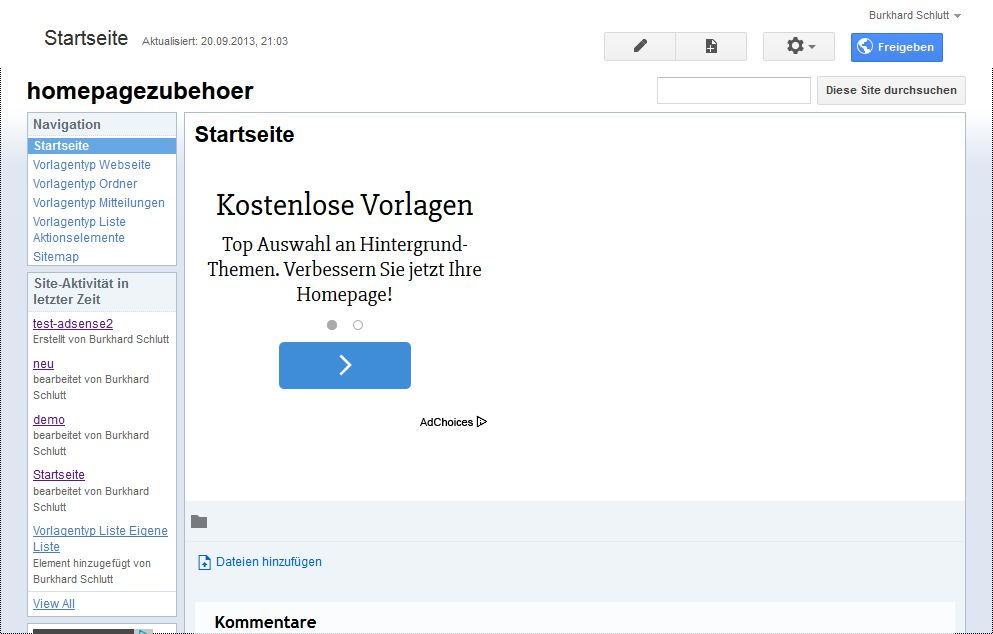 Screenshot sites.google.com/site/homepagezubehoer