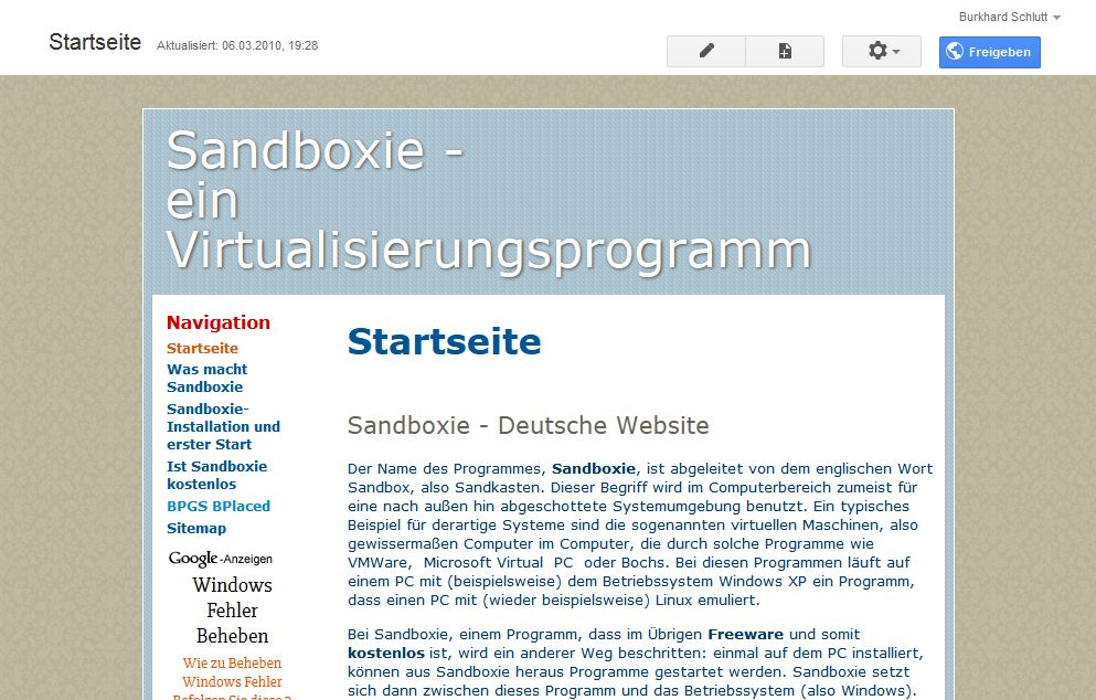 Screenshot sites.google.com/site/sandboxie1